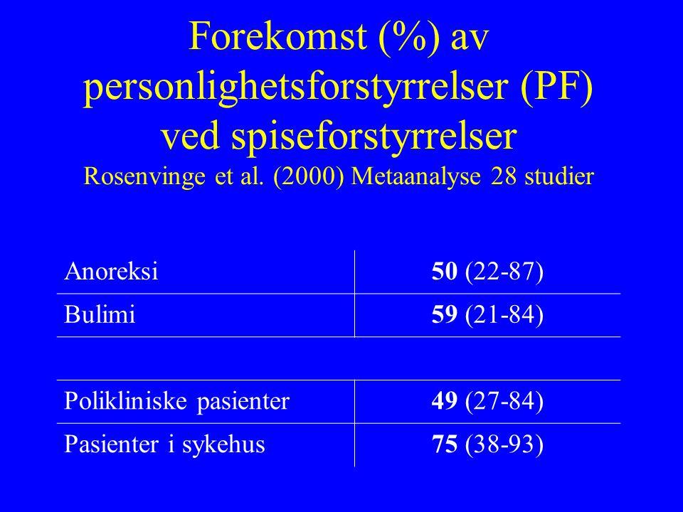 Forekomst (%) av personlighetsforstyrrelser (PF) ved spiseforstyrrelser Rosenvinge et al.