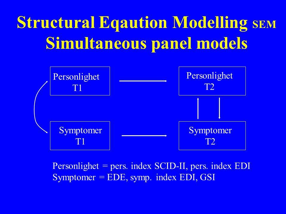 Structural Eqaution Modelling SEM Simultaneous panel models Personlighet T1 Personlighet T2 Symptomer T1 Symptomer T2 Personlighet = pers.
