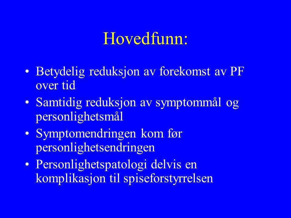Hovedfunn: Betydelig reduksjon av forekomst av PF over tid Samtidig reduksjon av symptommål og personlighetsmål Symptomendringen kom før personlighetsendringen Personlighetspatologi delvis en komplikasjon til spiseforstyrrelsen
