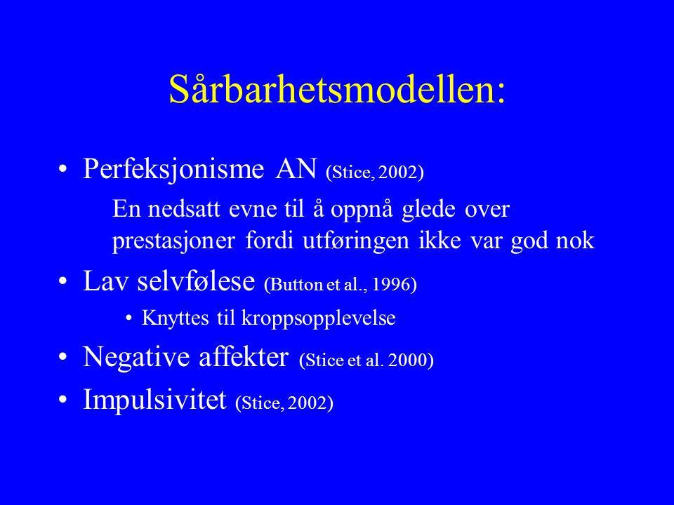 Sårbarhetsmodellen: Perfeksjonisme AN (Stice, 2002) En nedsatt evne til å oppnå glede over prestasjoner fordi utføringen ikke var god nok Lav selvfølese (Button et al., 1996) Knyttes til kroppsopplevelse Negative affekter (Stice et al.