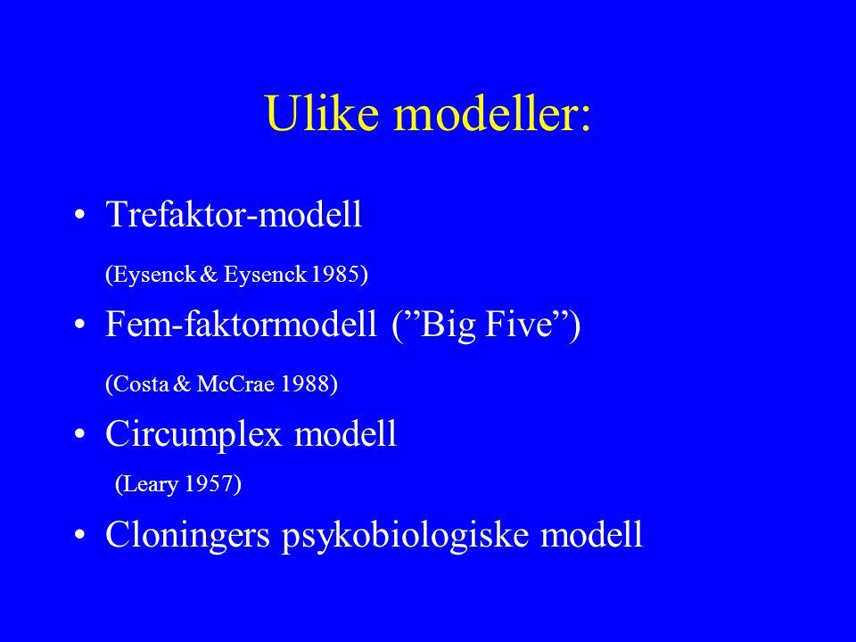 Ulike modeller: Trefaktor-modell (Eysenck & Eysenck 1985) Fem-faktormodell ( Big Five ) (Costa & McCrae 1988) Circumplex modell (Leary 1957) Cloningers psykobiologiske modell