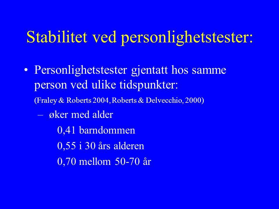 Stabilitet ved personlighetstester: Personlighetstester gjentatt hos samme person ved ulike tidspunkter: (Fraley & Roberts 2004, Roberts & Delvecchio, 2000) – øker med alder 0,41 barndommen 0,55 i 30 års alderen 0,70 mellom 50-70 år