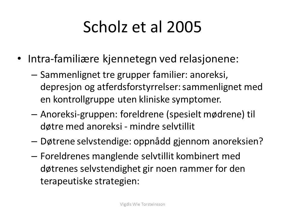 Scholz et al 2005: Øke foreldrenes interpersonlige autonomi Bevare de emosjonelle båndene i familien Bevare pasientens autonomi uten den stabiliserende effekten av anoreksien Vigdis Wie Torsteinsson