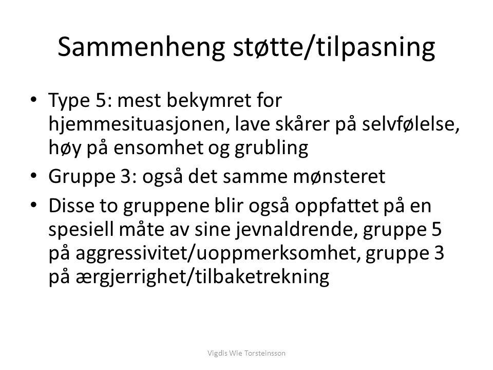 Sammenheng støtte/tilpasning Gruppe 3 oftest mobbet direkte, gruppe 4 og 5 oftest utsatt for indirekte mobbing (isolasjon, utestengning) Vigdis Wie Torsteinsson