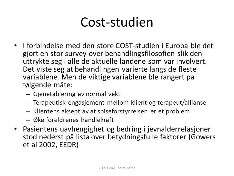Cost-studien I forbindelse med den store COST-studien i Europa ble det gjort en stor survey over behandlingsfilosofien slik den uttrykte seg i alle de