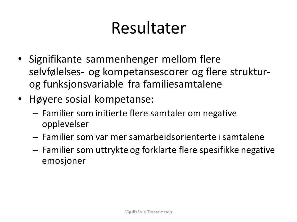 Resultater Signifikante sammenhenger mellom flere selvfølelses- og kompetansescorer og flere struktur- og funksjonsvariable fra familiesamtalene Høyer