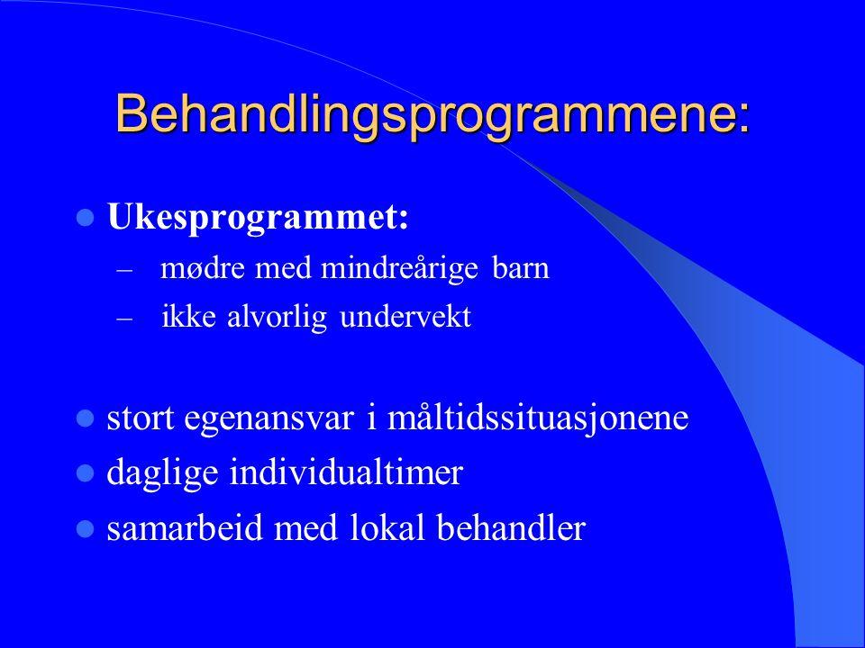 Behandlingsprogrammene: Ukesprogrammet: – mødre med mindreårige barn – ikke alvorlig undervekt stort egenansvar i måltidssituasjonene daglige individu