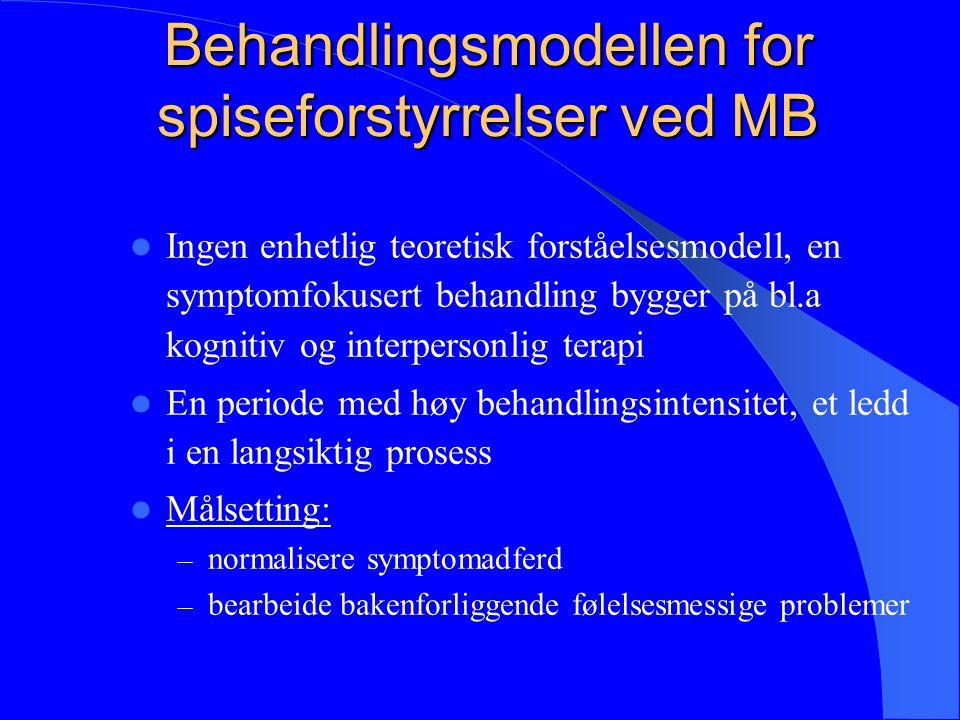 Behandlingsmodellen for spiseforstyrrelser ved MB Ingen enhetlig teoretisk forståelsesmodell, en symptomfokusert behandling bygger på bl.a kognitiv og