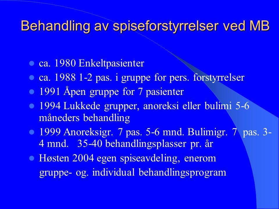 Behandling av spiseforstyrrelser ved MB ca. 1980 Enkeltpasienter ca. 1988 1-2 pas. i gruppe for pers. forstyrrelser 1991 Åpen gruppe for 7 pasienter 1