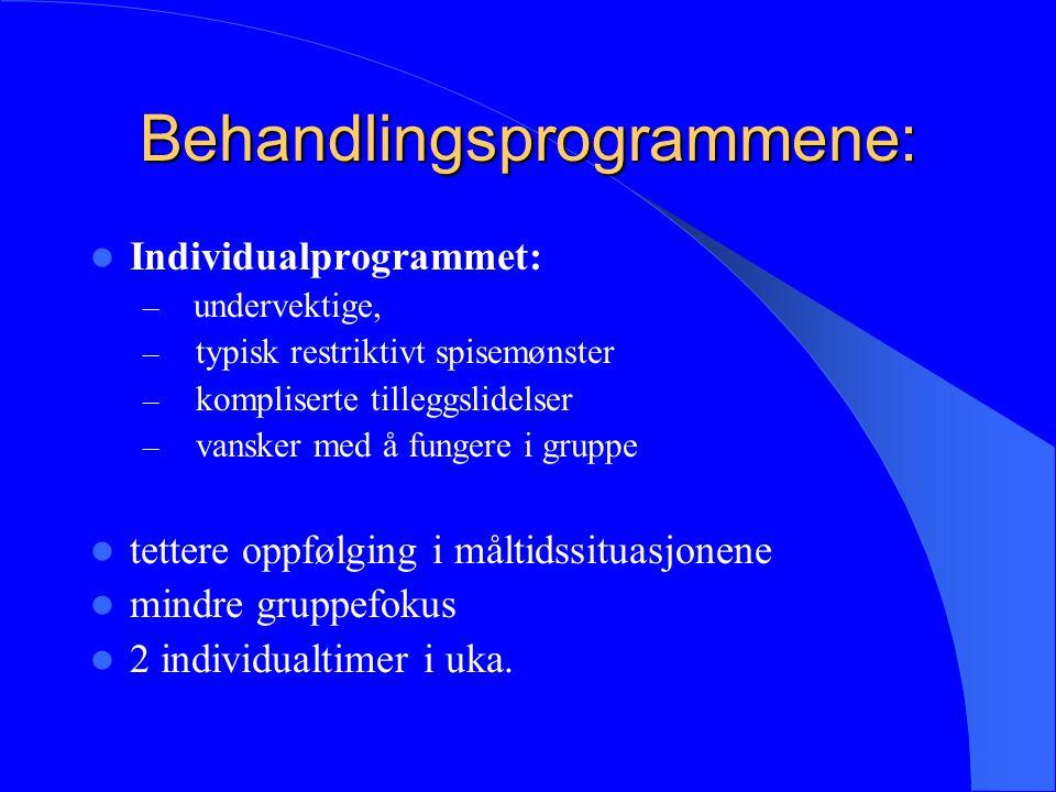 Behandlingsprogrammene: Individualprogrammet: – undervektige, – typisk restriktivt spisemønster – kompliserte tilleggslidelser – vansker med å fungere