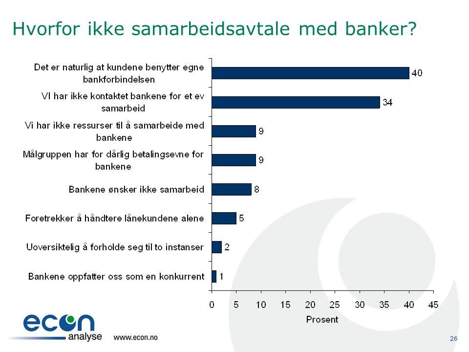 26 Hvorfor ikke samarbeidsavtale med banker