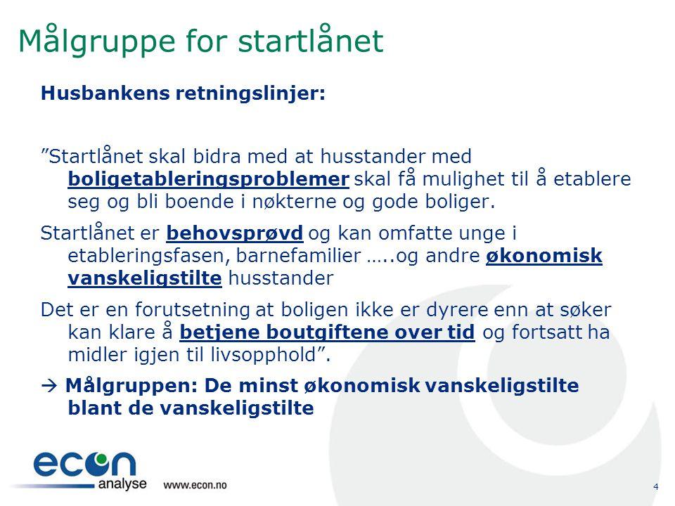 4 Målgruppe for startlånet Husbankens retningslinjer: Startlånet skal bidra med at husstander med boligetableringsproblemer skal få mulighet til å etablere seg og bli boende i nøkterne og gode boliger.