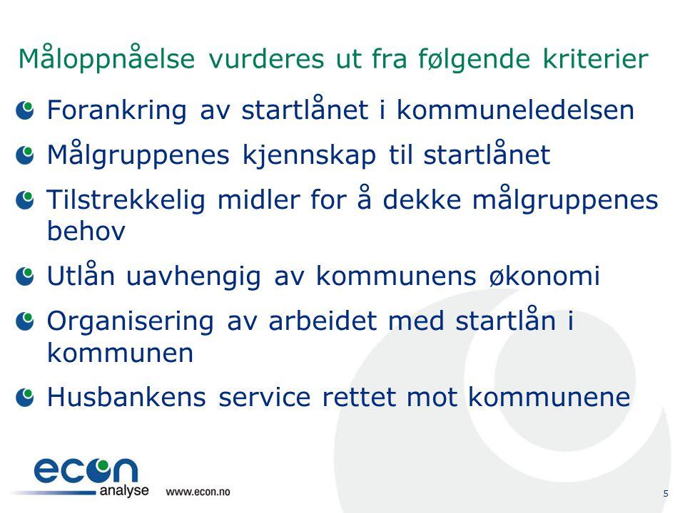 5 Måloppnåelse vurderes ut fra følgende kriterier Forankring av startlånet i kommuneledelsen Målgruppenes kjennskap til startlånet Tilstrekkelig midle