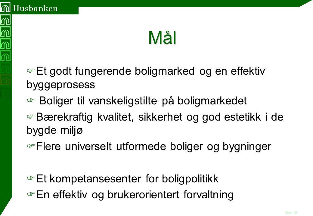 Side 10 Husbanken Mål F Et godt fungerende boligmarked og en effektiv byggeprosess F Boliger til vanskeligstilte på boligmarkedet F Bærekraftig kvalit