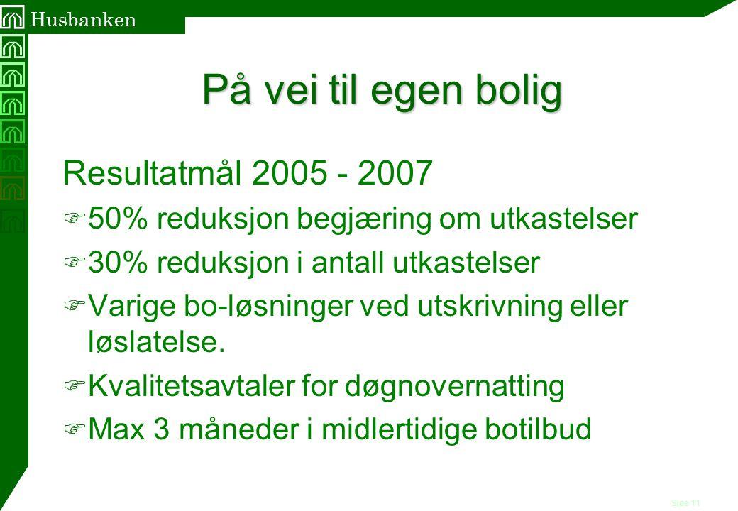 Side 11 Husbanken På vei til egen bolig Resultatmål 2005 - 2007 F 50% reduksjon begjæring om utkastelser F 30% reduksjon i antall utkastelser F Varige