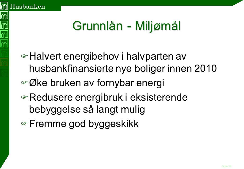 Side 29 Husbanken Grunnlån - Miljømål F Halvert energibehov i halvparten av husbankfinansierte nye boliger innen 2010 F Øke bruken av fornybar energi