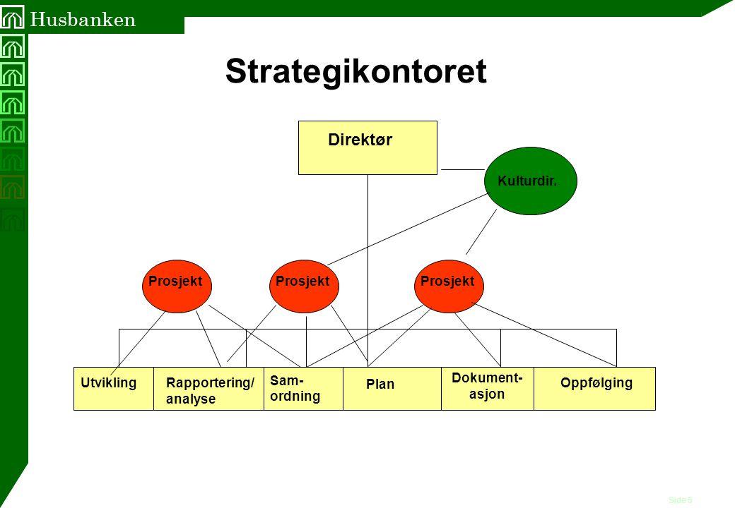 Side 5 Husbanken Direktør Strategikontoret Plan Oppfølging Dokument- asjon UtviklingRapportering/ analyse Kulturdir. Prosjekt Sam- ordning