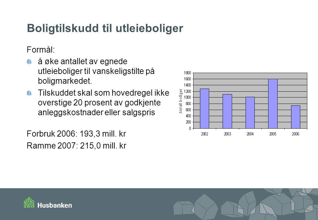 Boligtilskudd til utleieboliger Formål: å øke antallet av egnede utleieboliger til vanskeligstilte på boligmarkedet.