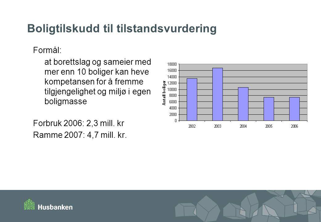 Boligtilskudd til tilstandsvurdering Formål: at borettslag og sameier med mer enn 10 boliger kan heve kompetansen for å fremme tilgjengelighet og miljø i egen boligmasse Forbruk 2006: 2,3 mill.