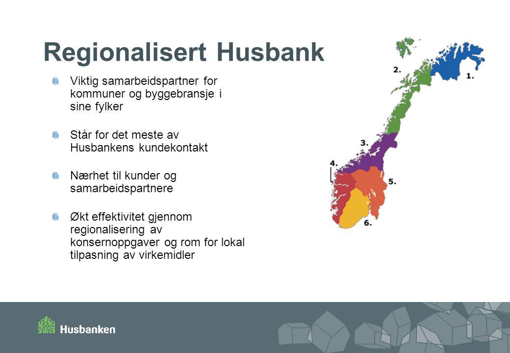 Regionalisert Husbank Viktig samarbeidspartner for kommuner og byggebransje i sine fylker Står for det meste av Husbankens kundekontakt Nærhet til kunder og samarbeidspartnere Økt effektivitet gjennom regionalisering av konsernoppgaver og rom for lokal tilpasning av virkemidler
