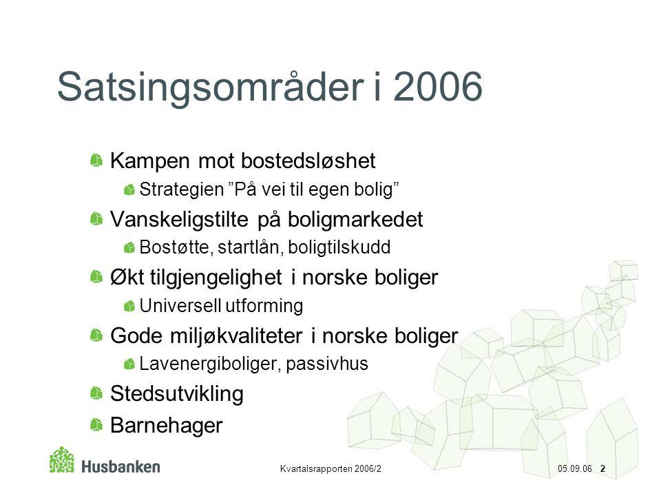 """Kvartalsrapporten 2006/2 05.09.06 2 Satsingsområder i 2006 Kampen mot bostedsløshet Strategien """"På vei til egen bolig"""" Vanskeligstilte på boligmarkede"""