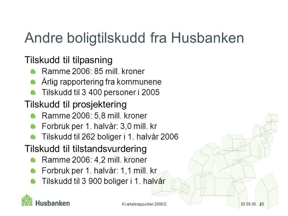Kvartalsrapporten 2006/2 05.09.06 23 Andre boligtilskudd fra Husbanken Tilskudd til tilpasning Ramme 2006: 85 mill. kroner Årlig rapportering fra komm