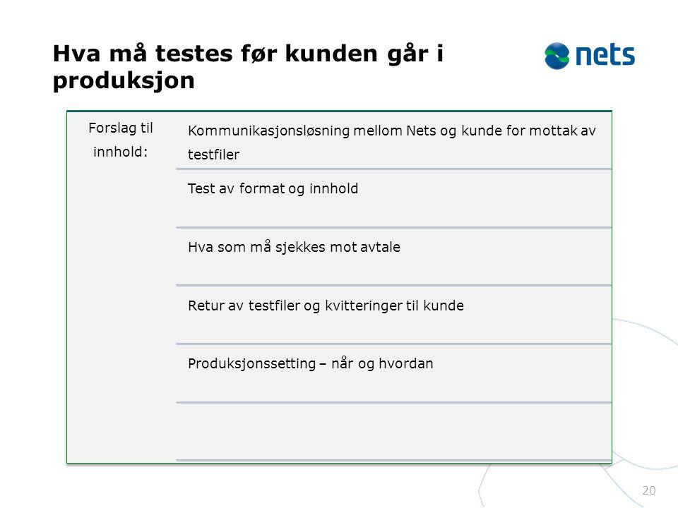 Hva må testes før kunden går i produksjon 20