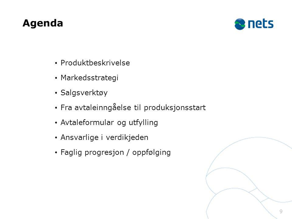 Agenda Produktbeskrivelse Markedsstrategi Salgsverktøy Fra avtaleinngåelse til produksjonsstart Avtaleformular og utfylling Ansvarlige i verdikjeden Faglig progresjon / oppfølging 9