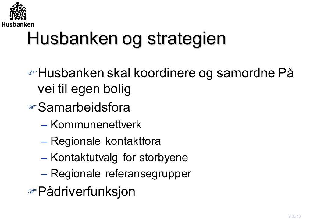Side 10 Husbanken og strategien F Husbanken skal koordinere og samordne På vei til egen bolig F Samarbeidsfora – Kommunenettverk – Regionale kontaktfo