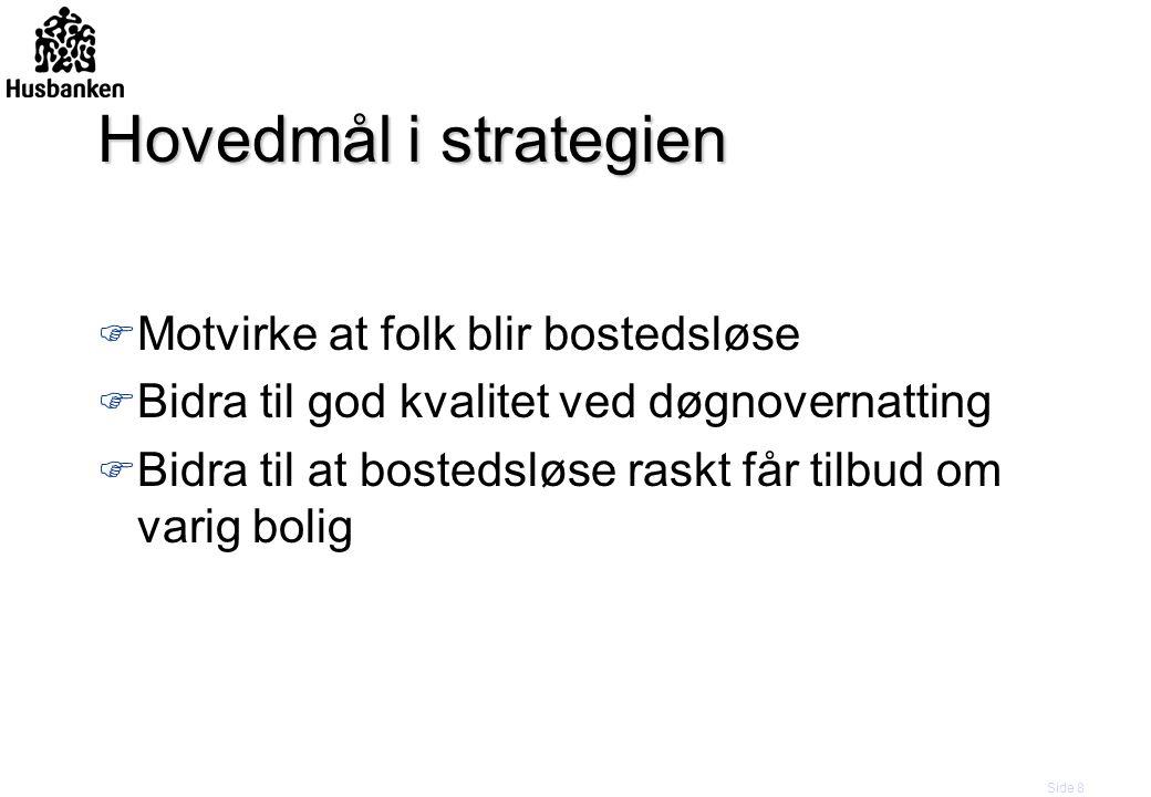 Side 8 Hovedmål i strategien F Motvirke at folk blir bostedsløse F Bidra til god kvalitet ved døgnovernatting F Bidra til at bostedsløse raskt får til