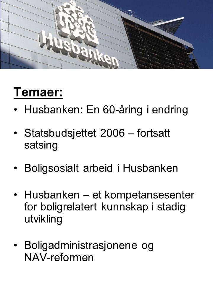 Temaer: Husbanken: En 60-åring i endring Statsbudsjettet 2006 – fortsatt satsing Boligsosialt arbeid i Husbanken Husbanken – et kompetansesenter for boligrelatert kunnskap i stadig utvikling Boligadministrasjonene og NAV-reformen