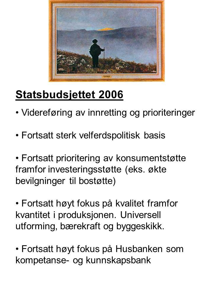 Statsbudsjettet 2006 Videreføring av innretting og prioriteringer Fortsatt sterk velferdspolitisk basis Fortsatt prioritering av konsumentstøtte framfor investeringsstøtte (eks.