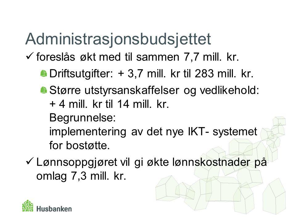 Administrasjonsbudsjettet foreslås økt med til sammen 7,7 mill.