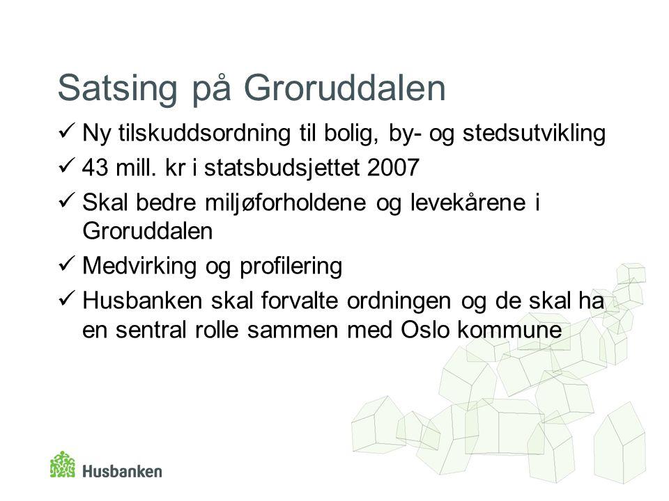 Satsing på Groruddalen Ny tilskuddsordning til bolig, by- og stedsutvikling 43 mill.