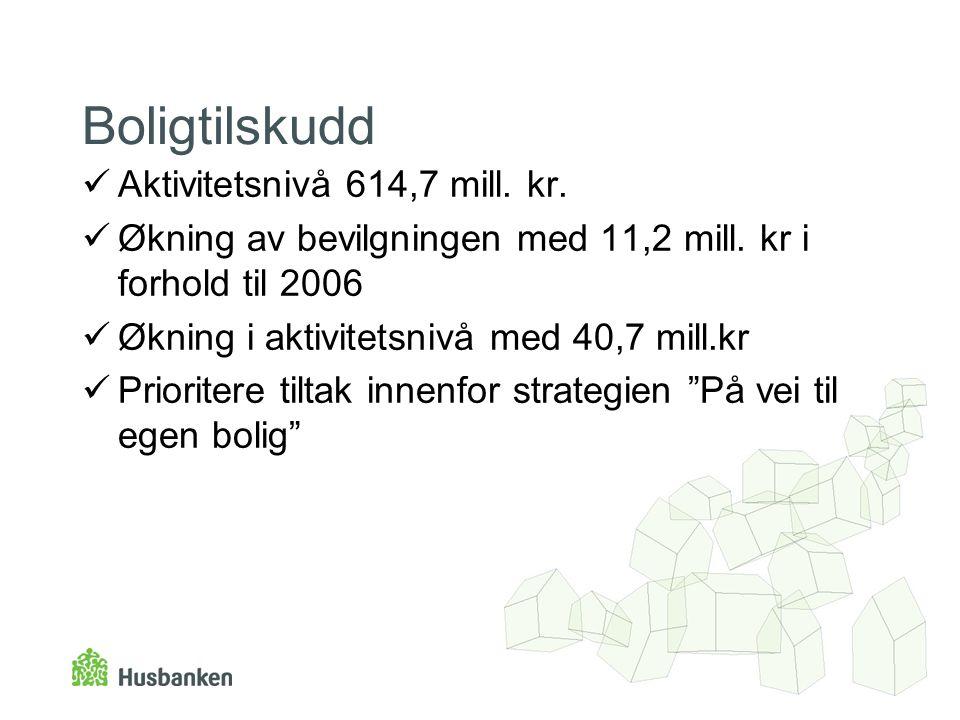 Boligtilskudd Aktivitetsnivå 614,7 mill. kr. Økning av bevilgningen med 11,2 mill.