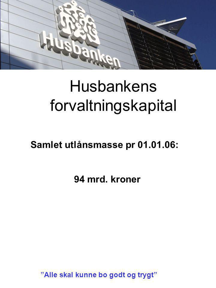Husbankens forvaltningskapital Alle skal kunne bo godt og trygt Samlet utlånsmasse pr 01.01.06: 94 mrd.
