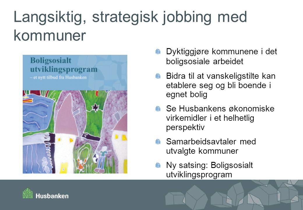 Langsiktig, strategisk jobbing med kommuner Dyktiggjøre kommunene i det boligsosiale arbeidet Bidra til at vanskeligstilte kan etablere seg og bli boe