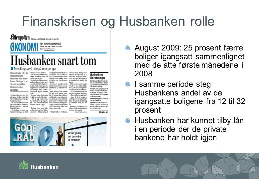 Finanskrisen og Husbanken rolle August 2009: 25 prosent færre boliger igangsatt sammenlignet med de åtte første månedene i 2008 I samme periode steg H