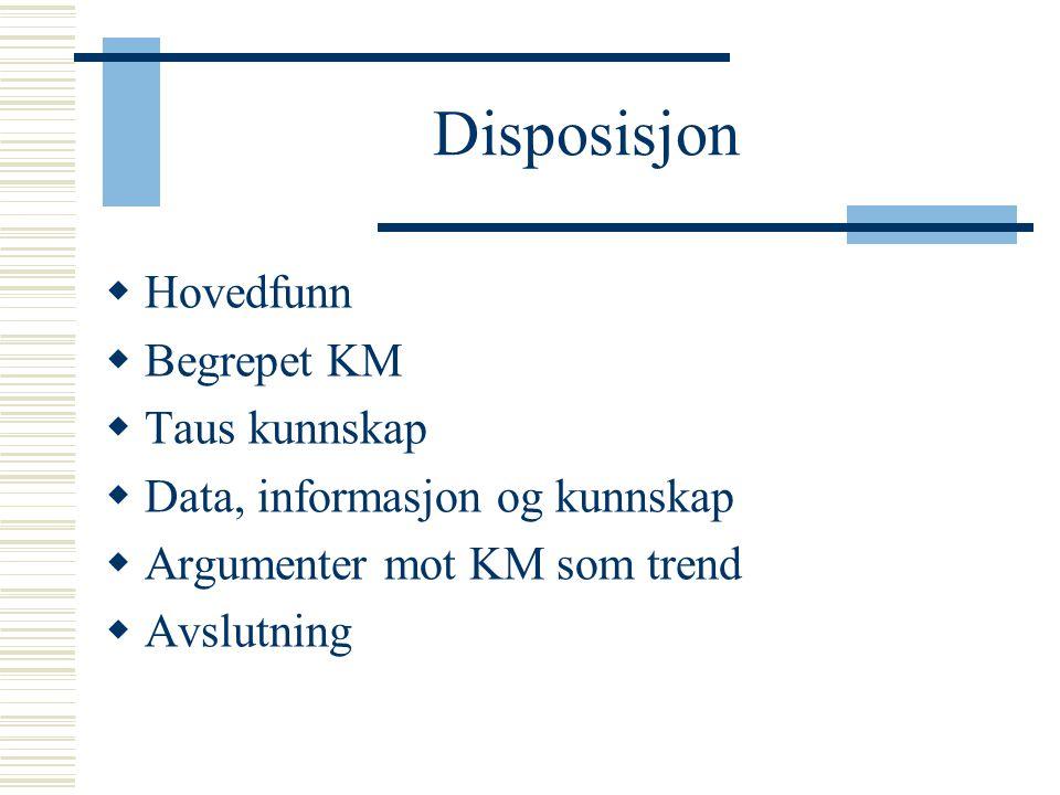 Disposisjon  Hovedfunn  Begrepet KM  Taus kunnskap  Data, informasjon og kunnskap  Argumenter mot KM som trend  Avslutning