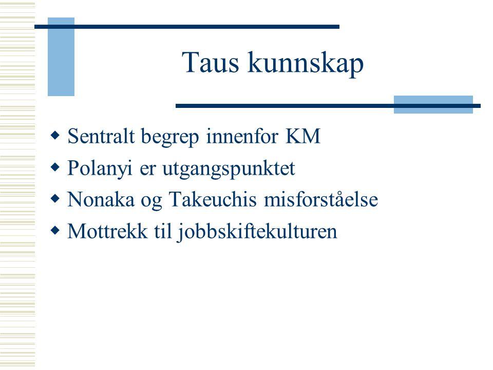Taus kunnskap  Sentralt begrep innenfor KM  Polanyi er utgangspunktet  Nonaka og Takeuchis misforståelse  Mottrekk til jobbskiftekulturen