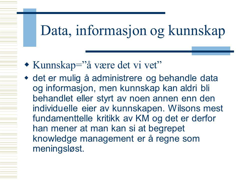 """Data, informasjon og kunnskap  Kunnskap=""""å være det vi vet""""  det er mulig å administrere og behandle data og informasjon, men kunnskap kan aldri bli"""