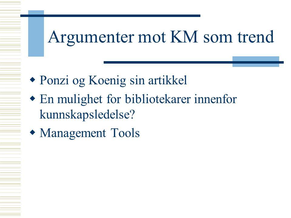 Argumenter mot KM som trend  Ponzi og Koenig sin artikkel  En mulighet for bibliotekarer innenfor kunnskapsledelse?  Management Tools