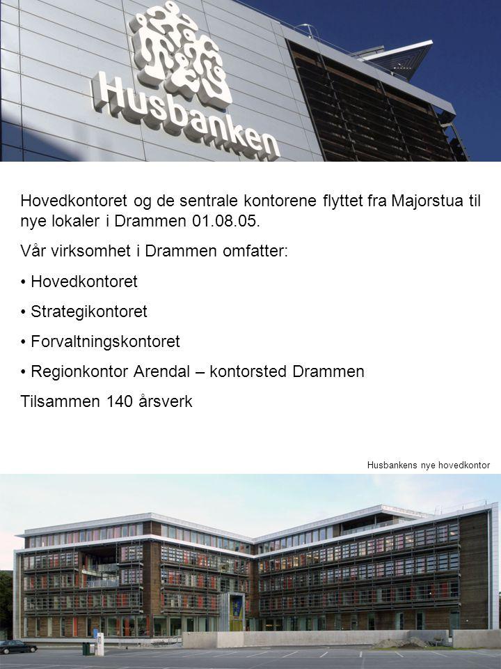 Hovedkontoret og de sentrale kontorene flyttet fra Majorstua til nye lokaler i Drammen 01.08.05. Vår virksomhet i Drammen omfatter: Hovedkontoret Stra