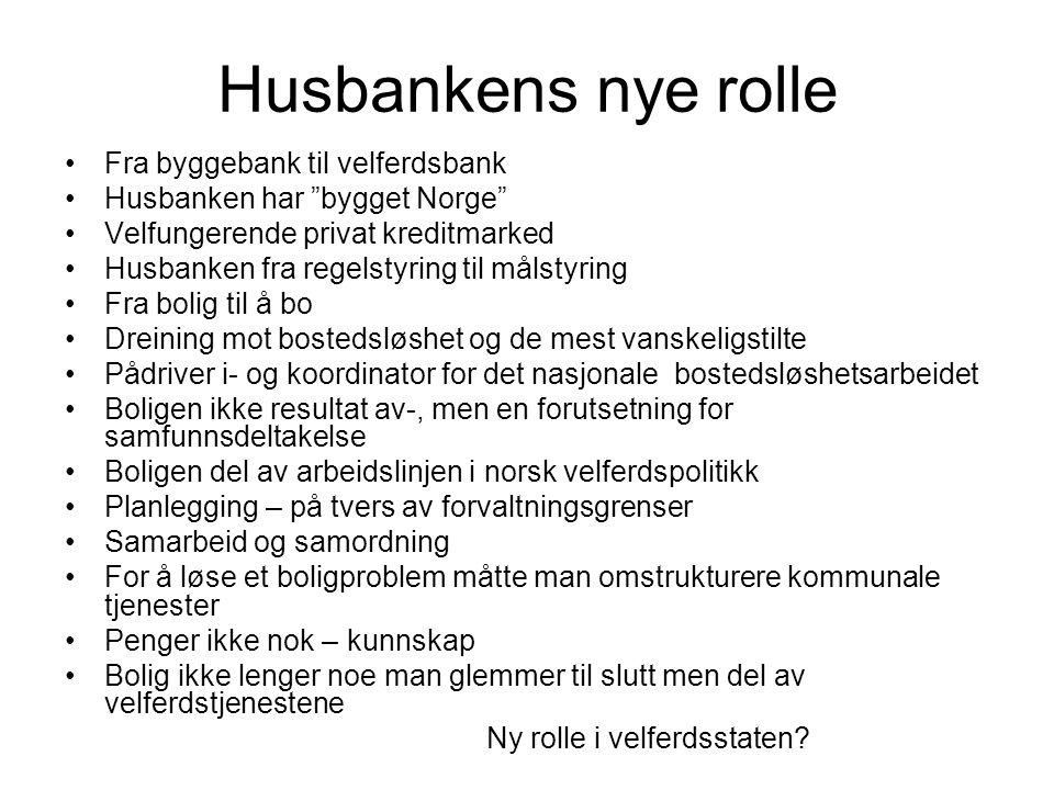 """Husbankens nye rolle Fra byggebank til velferdsbank Husbanken har """"bygget Norge"""" Velfungerende privat kreditmarked Husbanken fra regelstyring til måls"""