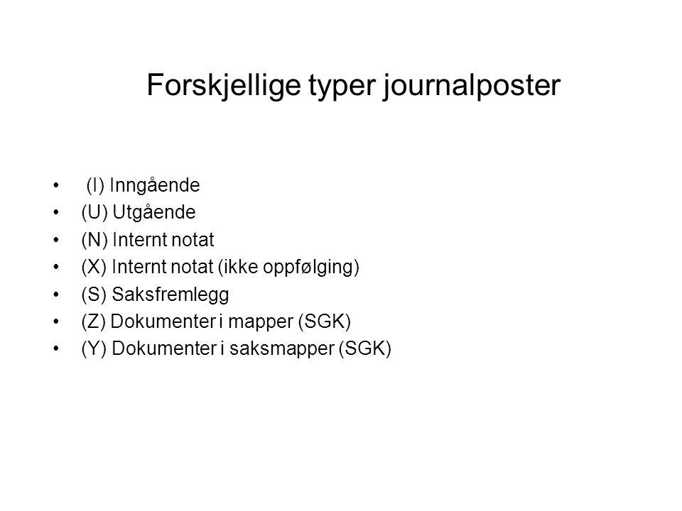 Forskjellige typer journalposter (I) Inngående (U) Utgående (N) Internt notat (X) Internt notat (ikke oppfølging) (S) Saksfremlegg (Z) Dokumenter i ma