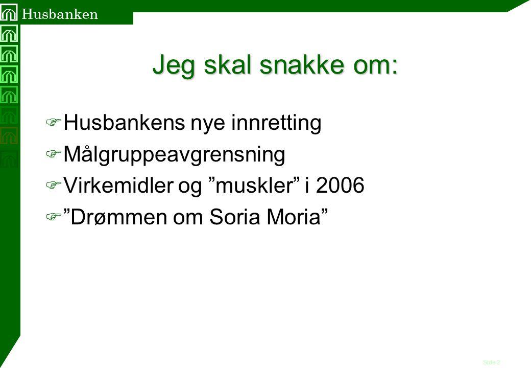"""Side 2 Husbanken Jeg skal snakke om: F Husbankens nye innretting F Målgruppeavgrensning F Virkemidler og """"muskler"""" i 2006 F """"Drømmen om Soria Moria"""""""