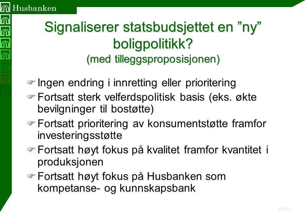 """Side 27 Husbanken Signaliserer statsbudsjettet en """"ny"""" boligpolitikk? (med tilleggsproposisjonen) F Ingen endring i innretting eller prioritering F Fo"""