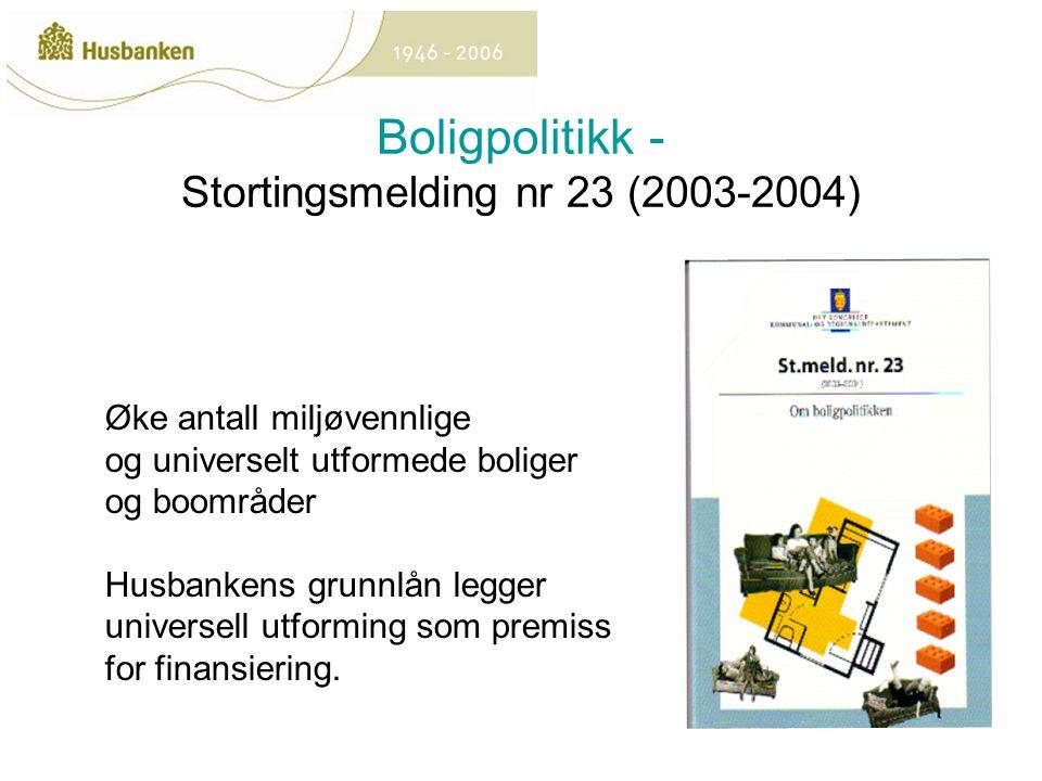 Boligpolitikk - Stortingsmelding nr 23 (2003-2004) Øke antall miljøvennlige og universelt utformede boliger og boområder Husbankens grunnlån legger universell utforming som premiss for finansiering.