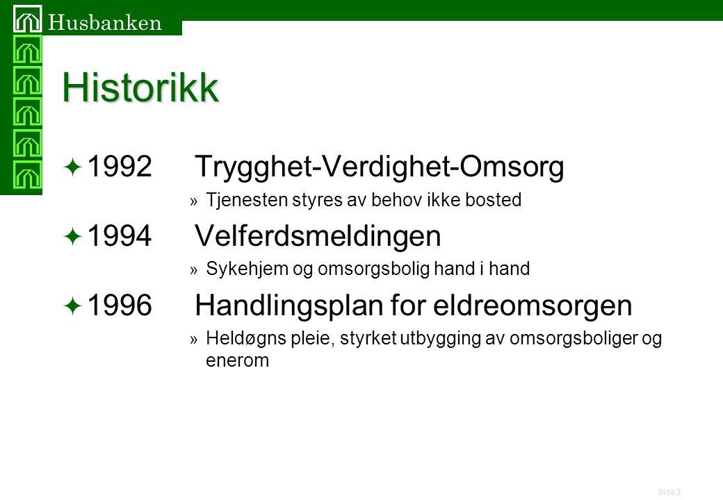 Side 3 Husbanken Historikk  1992Trygghet-Verdighet-Omsorg » Tjenesten styres av behov ikke bosted  1994Velferdsmeldingen » Sykehjem og omsorgsbolig