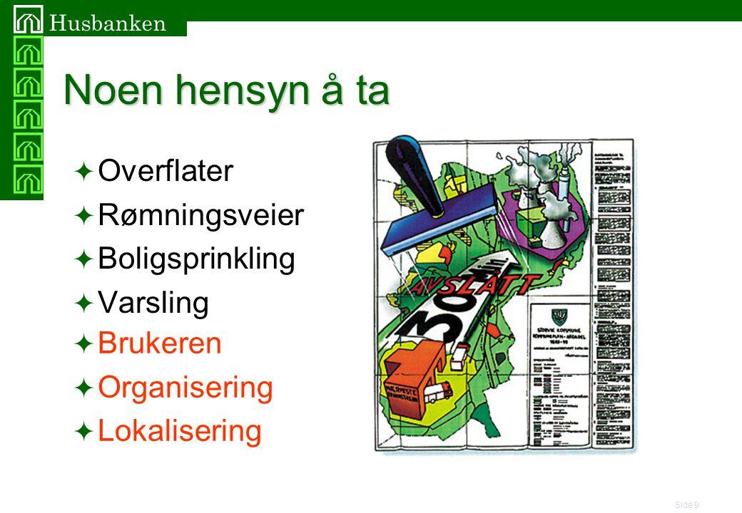 Side 9 Husbanken Noen hensyn å ta  Overflater  Rømningsveier  Boligsprinkling  Varsling  Brukeren  Organisering  Lokalisering